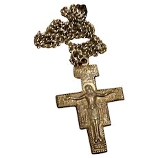 Silver Tone Crucifix Cross Pendant On Chain