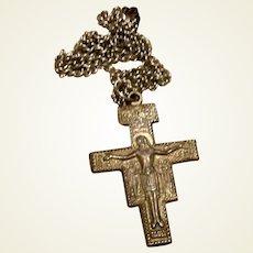 Silver Tone Crucifix Cross Pendant On Chain