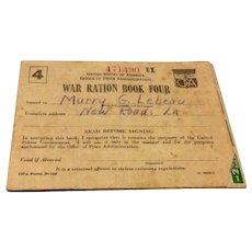 World War II Ration Stamp Book #4