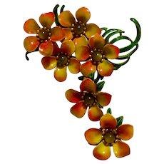 Enameled Floral Brooch Spray & Earrings