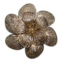 Italian Sterling Filigree Floral Brooch