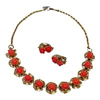 Faux Coral Necklace & Earrings