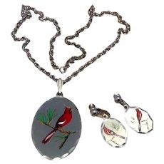 Blackinton Pewter Pendant Necklace & Earrings Cardinal
