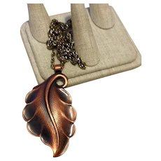Copper Leaf Pendant Necklace