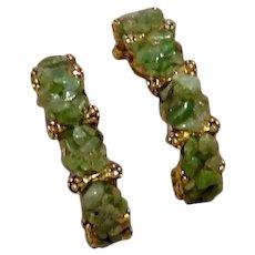 Jade Pebble Gold Tone Hoop Earrings