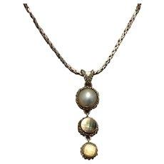 Bali Silver Tone Mabe Pearl MOP Pendant Necklace