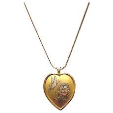 Reed & Barton Damascene Gold Tone Heart Pendant Necklace