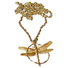 Gold Tone Dragonfly Pendant Necklace