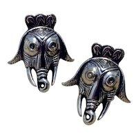 Swank Silver Figural Elephant Cufflinks