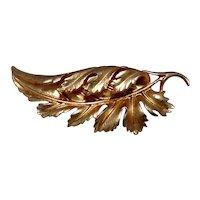Gold Tone Detailed Leaf Brooch