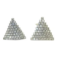 Silver Tone Rhinestone Clip earrings