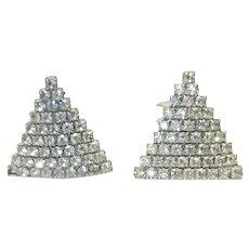 Silver Tone Rhinestone Clip earrings
