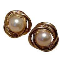 Sterling Vermeil Faux Pearl Earrings