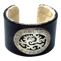 Leather & Suede Sterling Cuff Bracelet