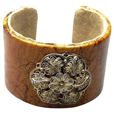 Leather & Suede Gold Tone Metal Cuff Bracelet