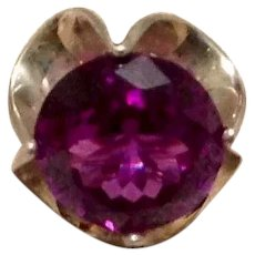 Sterling Synthetic Pink Sapphire Ring Size 6 1/4