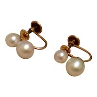 12K Gold Filled Double Cultured Pearl Earrings