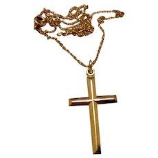 14K Gold Filled Cross Pendant & Chain