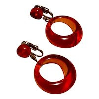 Amber Colored Lucite Hoop Clip Earrings