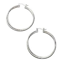 Ster;ing Silver Hoop Earrings NOS