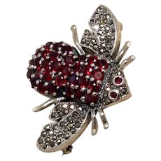 Sterling Garnet Marcasite Bumble Bee Brooch Pendant