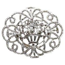 Art Deco Sterling Marcasite Floral Brooch