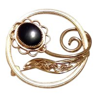 Gold Filled Onyx Flower Brooch