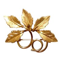14K Gold Filled Leaf Brooch