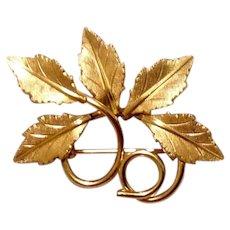 14K Gold Filled Leaf Brooch