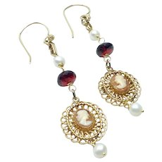 Gold Filled Cameo Garnet Pearl Dangle Earrings Upcycled