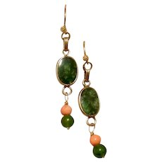 Gold Filled Jade & Coral Dangle Earrings Upcycled