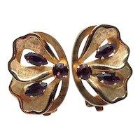 Gold Filled Garnet Clip Earrings
