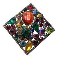 Gold Tone Multi Color Rhinestone Brooch