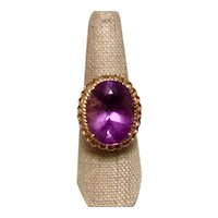 14K Yellow Gold Amethyst Oval Ring Size 8