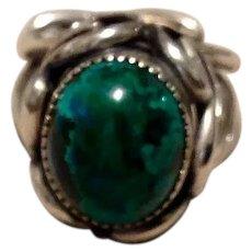 Sterling Malachite Ring Adjustable