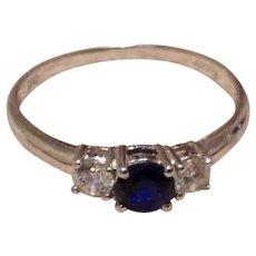 Sterling Blue Topaz CZ Ring Size 9 3/4