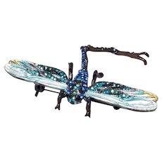 Dragonfly Blue Enameled (?) & Rhinestone Brooch Pendant Movable Tail