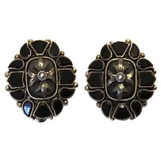 Victorian 14K Black Onyx Seed Pearl Pierced Earrings