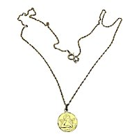 14K Gold Filled Guardian Angel Pendant Necklace