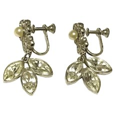 Silver Tone Clear Rhinestone Faux Pearl Floral Screw Back Earrings