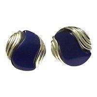 Silver Tone Faux Blue Lapis Glass Earrings