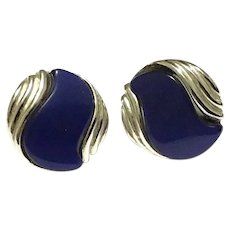 Silver Tone Faux Blue Lapis Glass Earrings