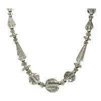 Clear Faceted Crystal Bead Necklace With Gold Filled Spacers