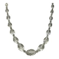 Clear Crystal Faceted Bead Necklace With Crystal Spacers