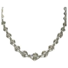 Clear Faceted Crystal Beaded Necklace With Crystal Spacers