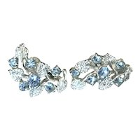 Coro Silver Tone Blue Rhinestone Clip Earrings