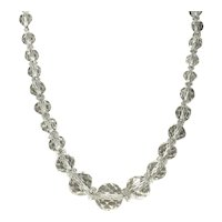 Clear Crystal Faceted Graduated Bead Necklace With Clear Crystal Spacers
