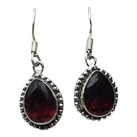 Sterling Silver Garnet Dangle Earrings NOS