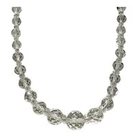 Clear Faceted Graduated Crystal Bead Necklace With Clear Spacers