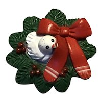 Christmas White Bird In Green Wreath With Red Bow